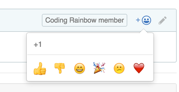 View the button to use in the to right of issues and comments to add a GitHub reactions.